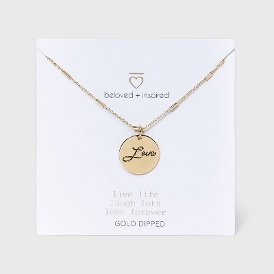 Beloved + Inspired Gold 'Love' Disc Chain Necklace - Gold