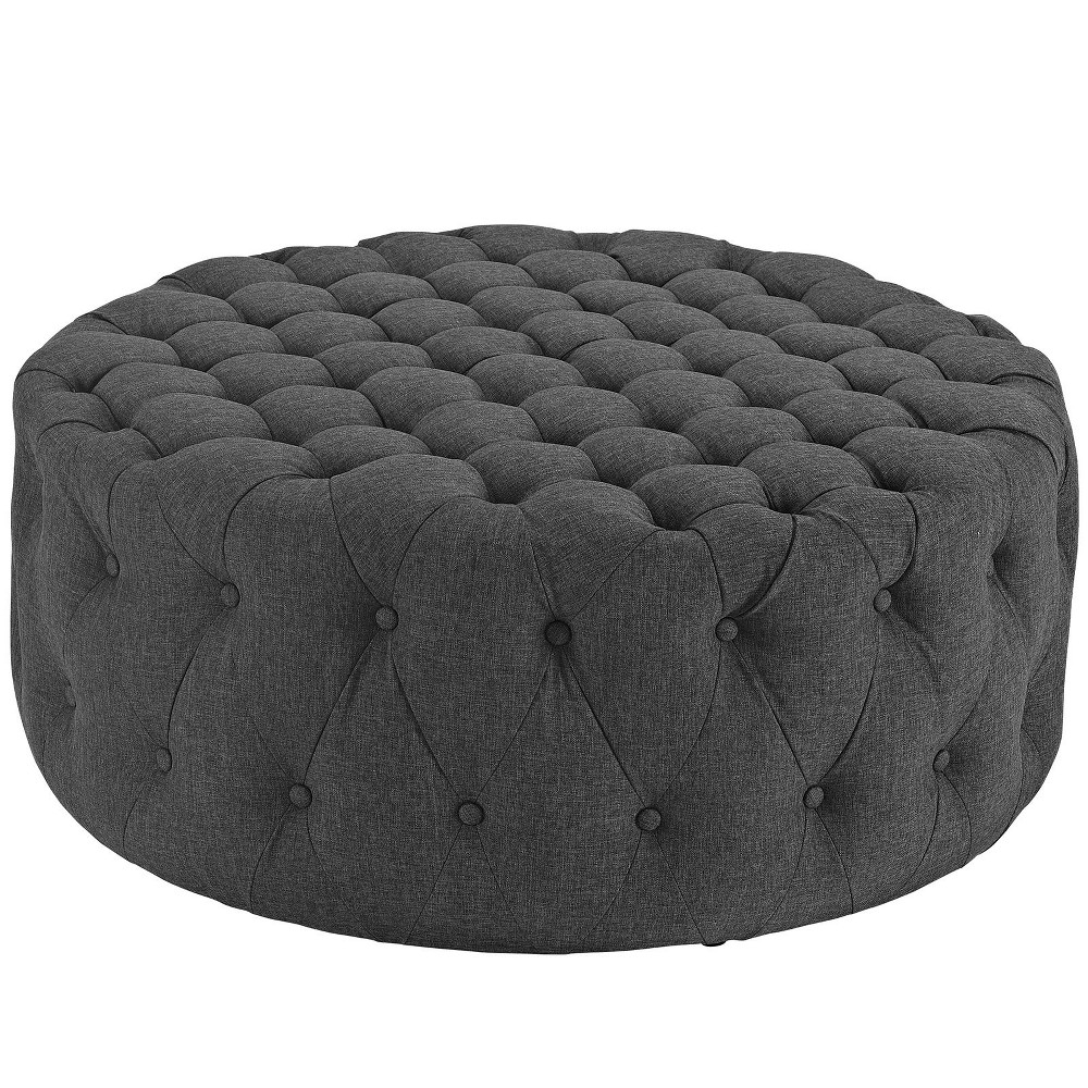 Amour Upholstered Fabric Ottoman Gray - Modway