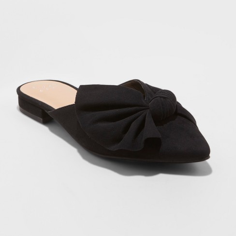 Women's Beth Bow Mules - A New Day™ Black 6 - image 1 of 3
