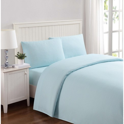 Queen Anytime Striped Sheet Set Aqua - My World - image 1 of 4