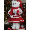 """Northlight 20"""" White and Red Winter Girl Santa Bear in Deer Sweater Christmas Figure Decoration - image 2 of 4"""