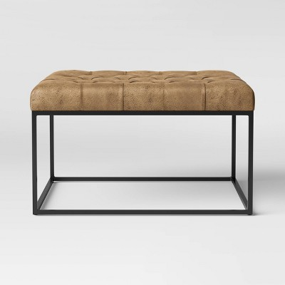 Trubeck Tufted Faux Leather Metal Base Cocktail Ottoman Brown - Project 62™