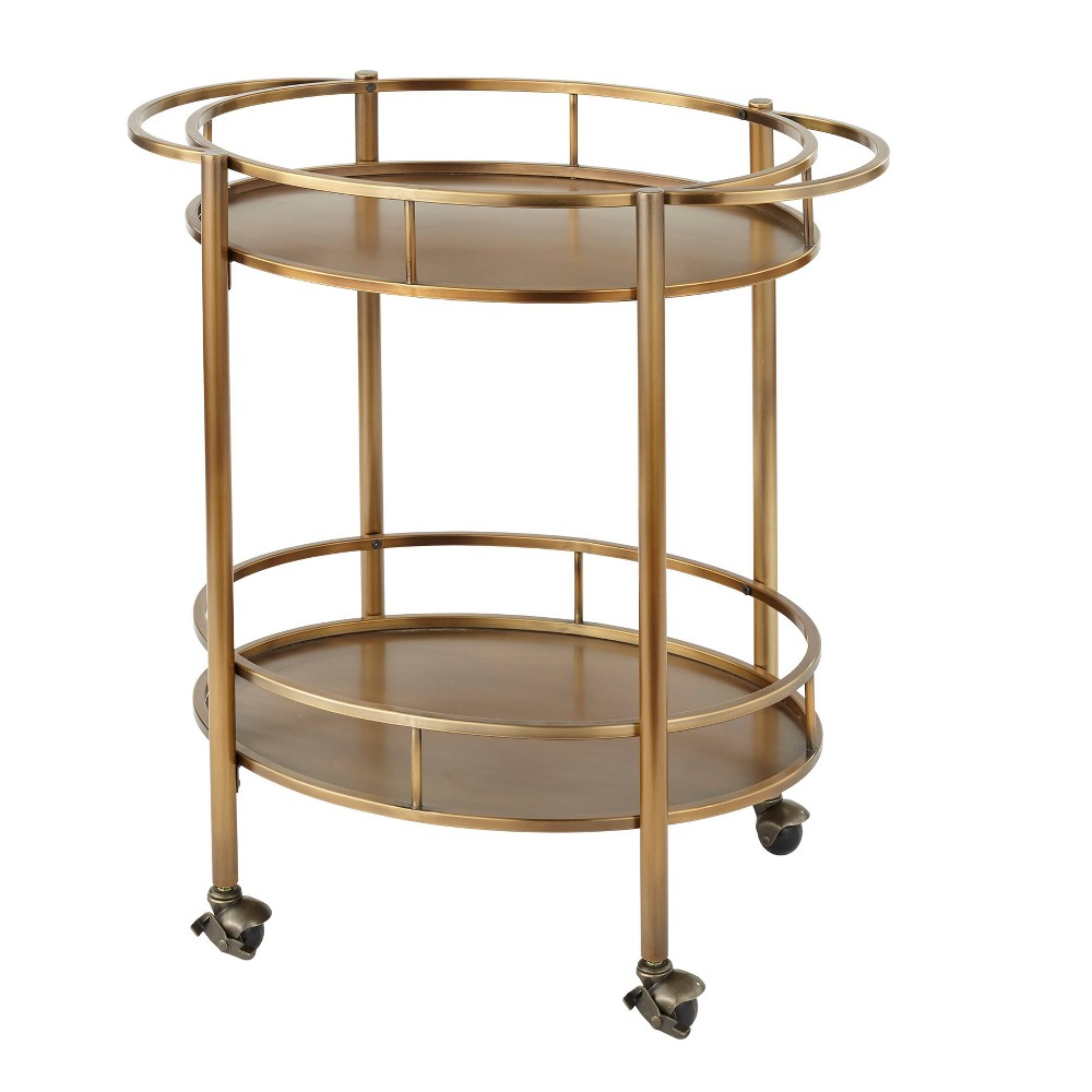 Devin Oval Metal Bar Cart Gold - Lifestorey was $259.99 now $168.99 (35.0% off)