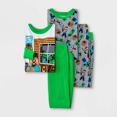 Boys' Minecraft 4pc Pajama Set - Green/Gray