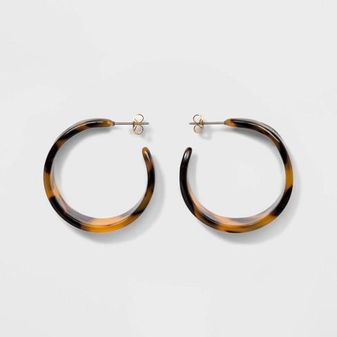 Women's Wide Hoop Earrings - A New Day™ Tortoise - image 1 of 3