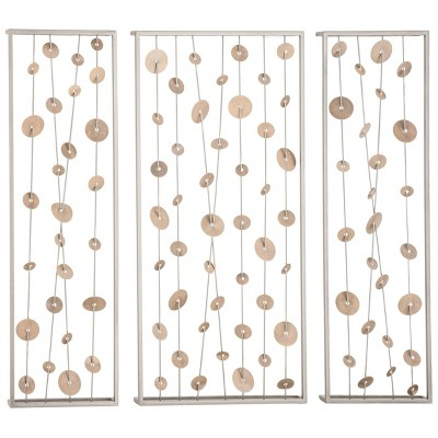 Set of 3 Contemporary Beige Metal Wall Decor - Olivia & May