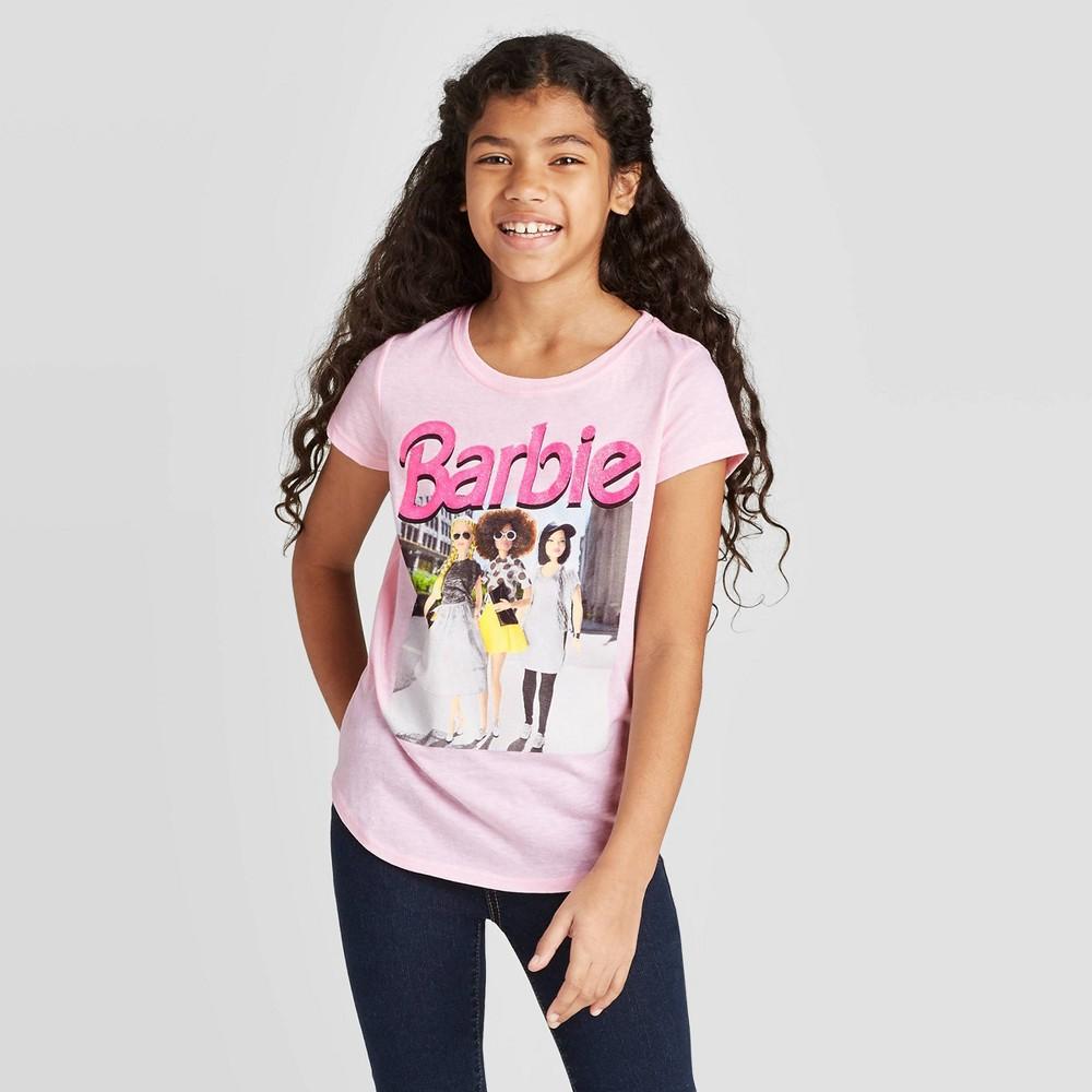 Image of petiteGirls' Short Sleeve Barbie Graphic T-Shirt - Pink L, Girl's, Size: Large