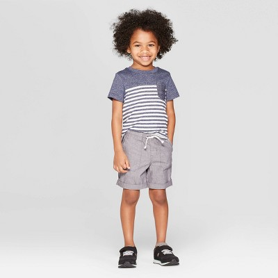 3177e15795c Toddler Boys  Short Sleeve Striped Pocket T-Shirt - Cat   Jack™ Navy