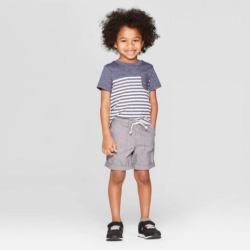 Toddler Boys' Short Sleeve Striped Pocket T-Shirt - Cat & Jack™ Navy - image 1 of 2