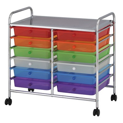 ECR4Kids Rolling Storage Cart with Drawers and Locking Casters, Utility Bin Organizer