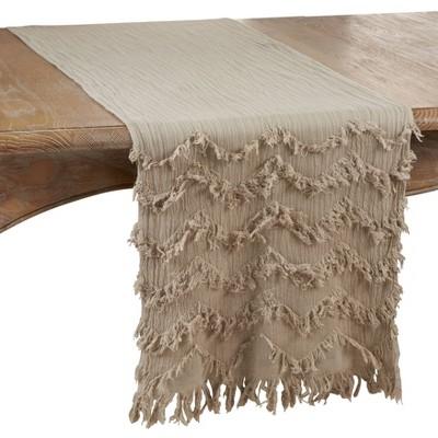 "72"" x 16"" Cotton Fringed Chevron Table Runner Beige - Saro Lifestyle"