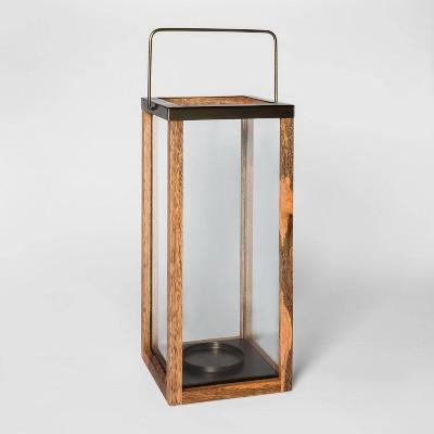 Wooden Pillar Candle Holder Lantern Brown - Threshold™