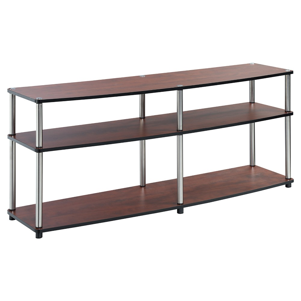 3 Tier 60 TV Stand - Cherry (Red) - Convenience Concepts