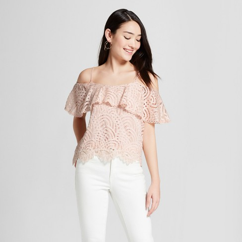 0fc7eec645c1e Women s Short Sleeve Cold Shoulder Lace Top - Everly Clothing ...