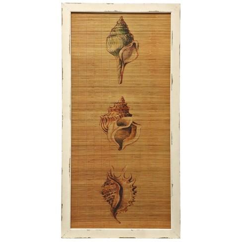 60 Seashells Straw Mat Reclaimed Wood Framed Printed Decorative Wall Art Brown Stylecraft