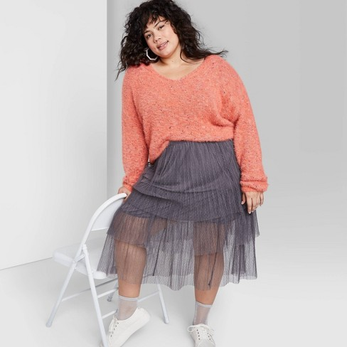 Women's Plus Size Fuzzy V-Neck Sweater - Wild Fable™ Coral Blossom - image 1 of 3