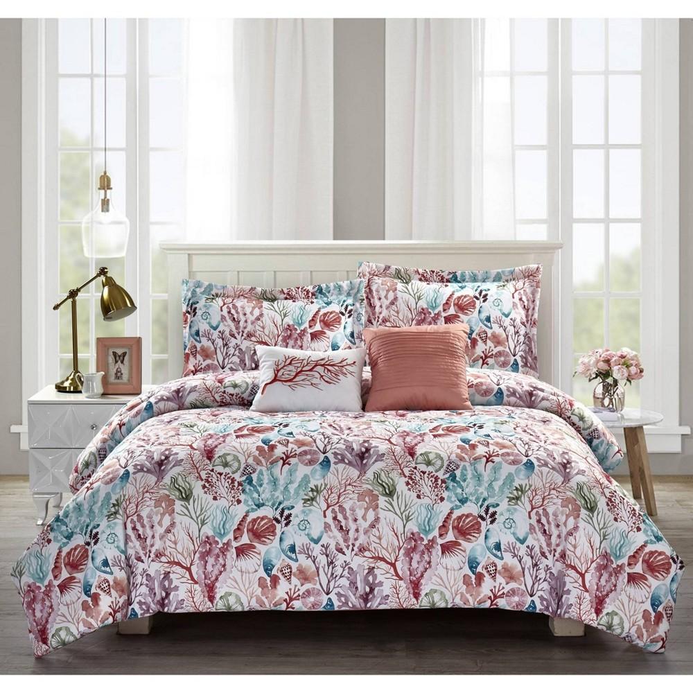 Full Queen 5pc Coral Sea Reversible Comforter Set