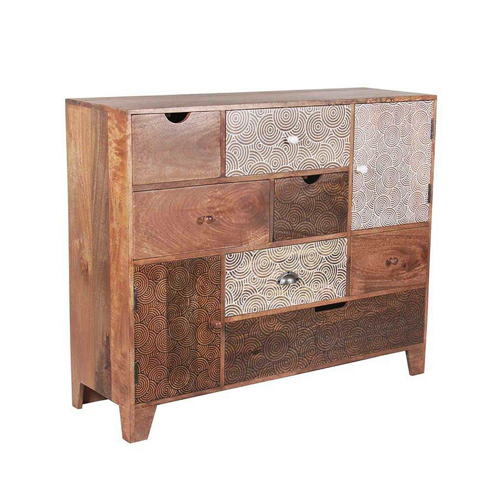 Gloria Multi Drawer Sideboard Mango Wood with Screen Print Drawers - Steve Silver