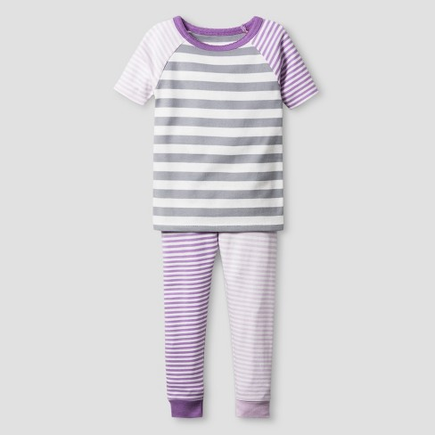 Toddler Girls' Organic Cotton 2-Piece Pajama Set - Cat & Jack™ Lilac Stripe 18M - image 1 of 1