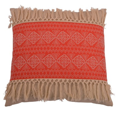 Harriet Embroidered Fringe Oversize Square Throw Pillow Orange - Decor Therapy