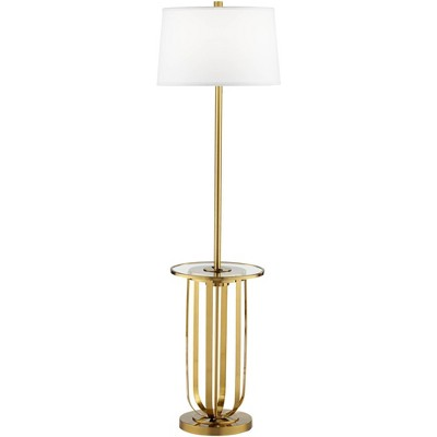 Possini Euro Design Mid Century Floor Lamp with Table and USB Port Brass Off White Drum Shade Living Room Reading Bedroom Office
