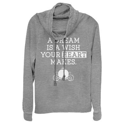 Junior's Cinderella A Dream Is a Wish Your Heart Makes Cowl Neck Sweatshirt