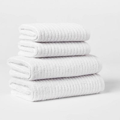 4pk Quick Dry Ribbed Hand/Wash Towel Set Light Gray - Threshold™