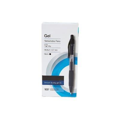 MyOfficeInnovations Aura Retractable Gel Pens, Medium Point, Black Ink, Dozen