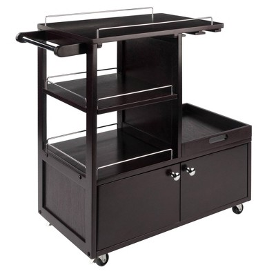 Galen Entertainment Cart with Serving Tray Wood/Espresso - Winsome