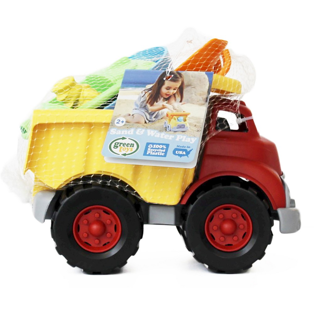 Green Toys Sand and Water Play Dump Truck with Boat and Sand Tools The Green Toys Dump Truck, Sport Boat, Rake, and Shovel are the perfect set for a trip to the beach or a playground adventure. These toys are ready for sand and sun -- sturdy, durable, and easy to clean at the end of a long day of fun. Made in the USA. 100 percent recycled plastic. No PVC, BPA or Pthalates. Dishwasher Safe. Gender: Unisex.