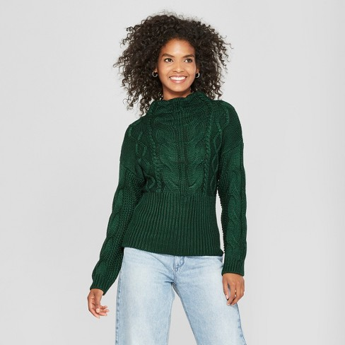 Women's Long Sleeve Exaggerated Rib Detail Mockneck - Cliche Green L - image 1 of 2