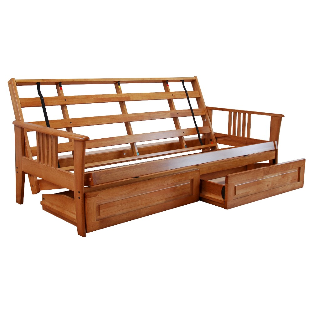 Christopher Knight Home Capri Butternut Frame Only Futon with Drawers, Butternut Wood