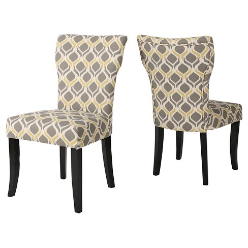 Cecily Geometric Print Dining Chair Yellowgray Set Of 2
