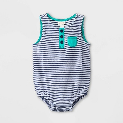 Baby Boys' Striped Terry Henley Romper - Cat & Jack™ Navy 6-9M