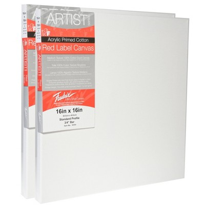 """Fredrix Red Label Stretched Cotton Canvas 16 X 16"""" - 2pk"""