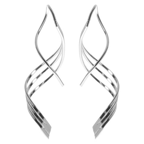 Women's Journee Collection Handmade Spiral Earrings in Sterling Silver - image 1 of 2