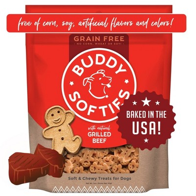 Buddy Biscuits Grain-Free Soft and Chewy Treats with Grilled Beef Dry Dog Treats - 5oz