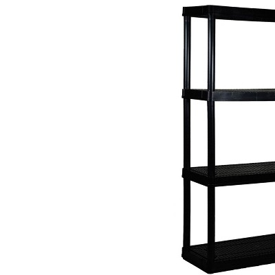 Gracious Living 4 Shelf Tier Medium Resin Garage Storage Shelf, Black (5 Pack)