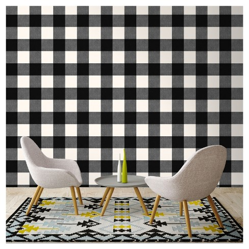 Devine Color Buffalo Plaid Peel Stick Wallpaper Black And Lightning Target