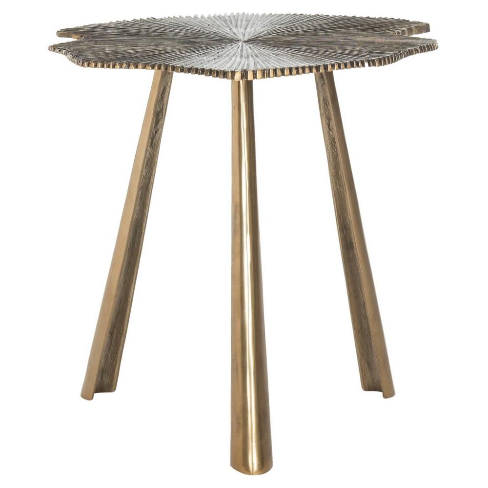Portia Leaf Side Table - Brass - Safavieh