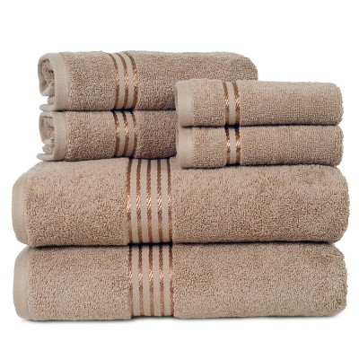 6pc Hotel 100% Cotton Bath Towel Set Taupe - Hastings Home