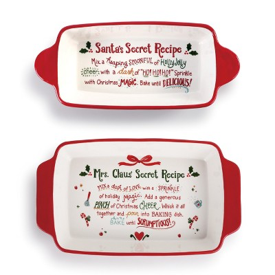 DEMDACO Santa and Mrs. Claus' Secret Recipe Baking Dishes - Set of 2 Red