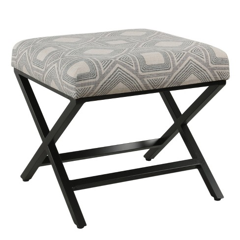 Remarkable Modern Metal X Base Ottoman Square Geometric Charcoal Homepop Creativecarmelina Interior Chair Design Creativecarmelinacom