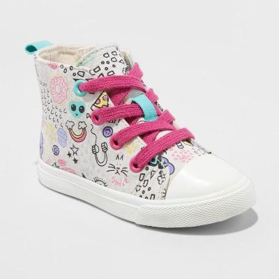 Toddler Girls' Jory High top Canvas Sneakers - Cat & Jack™ Cream 6