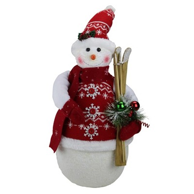 "Northlight 20"" Red and White Sparkling Snowman Christmas Figurine"