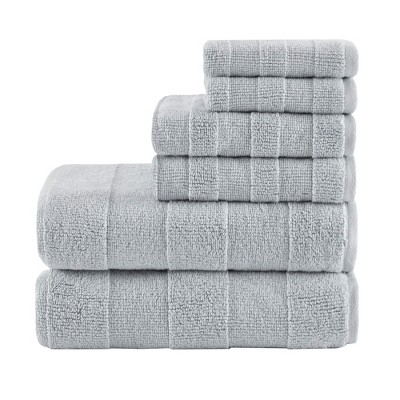 6pc Parker Luxury Striped Cotton Towel Set Gray