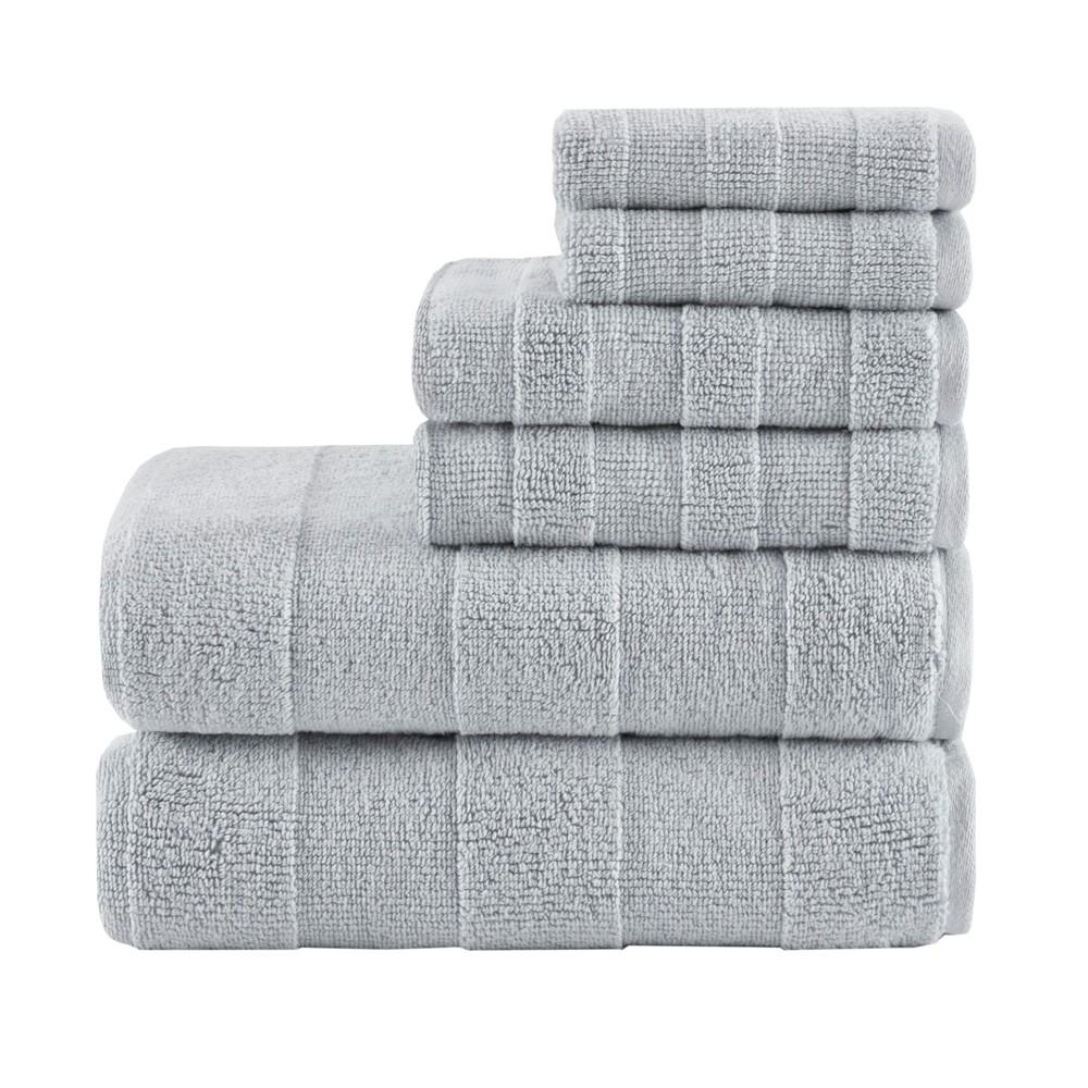 6pc Parker Luxury Striped Cotton Towel Set Gray