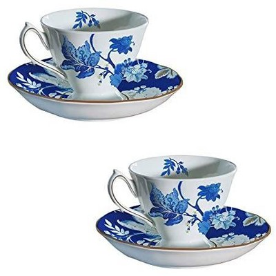 Cypress Home Bone China Cup And Saucer Set, 6 Oz, Blue Floral Toile