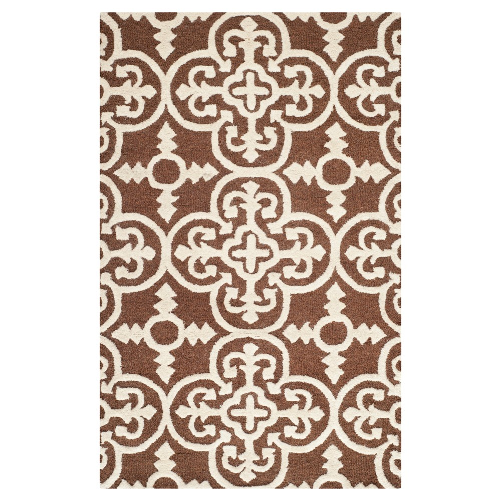 4'X6' Geometric Area Rug Dark Brown/Ivory - Safavieh
