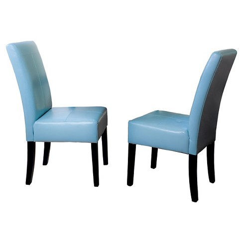 T Stitch Leather Dining Chair Woodteal Blue Set Of 2